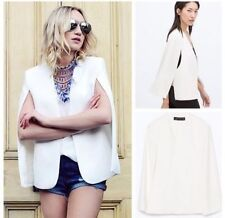 ZARA off white ecru flowing cape jacket blazer vest sold out bloggers new XS M