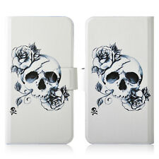 Sketch Flower Skull PU Leather New Flip Case Cover For HTC Mobile 51