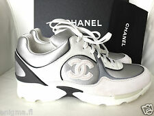 2015 CHANEL CC WHITE GRAY SILVER SNEAKERS TENNIS SHOES TRAINERS 36/37.5/38.5/39