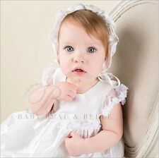 "Baby Beau & Belle ""Leila White"" Girls Silk Christening, Baptism Gown or Dress"