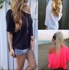 New Sexy Women Chiffon OFF-Shoulder Long Sleeve Casual T-Shirt Loose Tops Blouse