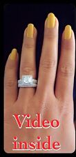 "Glow""*Princess Cut 2.CT 2Pcs Engagement Diamond Ring Platinum 22KT Silver ITALY"