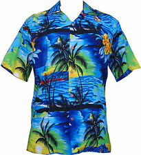 Hawaiian Shirt Allover Printed Blue Polyester Beach Camp Party Aloha Mens