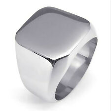 Men's High Polished Signet Solid 316L Silver Stainless Steel Ring SIZE 8 to 13