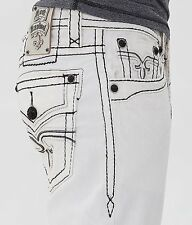 NEW Buckle Rock Revival Mid Rise White Pietro Straight Stretch Jean 28,29,31,40