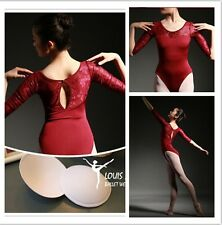 New Professional lady  ballet dance leotard with mesh inserts 3/4 long
