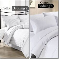 600 800 1000 1200 TC 100% Egyptian Cotton US Size Bedding in White Solid Striped