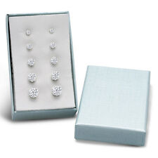 Round Cubic Zirconia Stud Earrings Set (5 Pairs) Available In 6 colors