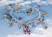 Wizard of Oz Charm Bracelet USA Tarnish Free Charms Steel or Sterling Chain