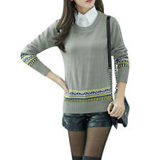 Woman Geometrical Prints Point Collar Long Sleeves Panel Knit Shirt