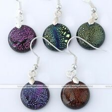 Pair Dichroic Murano Lampwork Glass Round Bead Dangle Hook Earring Eardrop Women