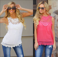 AA Women Casual Top Shirt Vest Ladies Sleeveless Summer Blouse Loose Tops 6-20