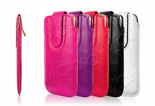 Pull Up Tab Leather Case Magnetic Sleeve Pouch Wallet Cover For Samsung Galaxy