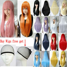 New 80CM Long Straight Cosplay Fashion Wig Multicolor heat resistant Full Wigs