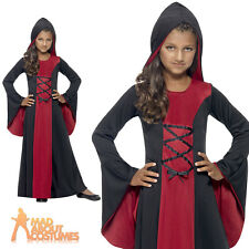 Child Hooded Vamp Costume Girls Halloween Robe Vampire Fancy Dress Outfit New
