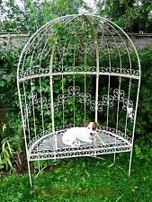 CHARMING ANTIQUE STYLE METAL GARDEN ARBOUR BENCH, LOVELY DESIGN