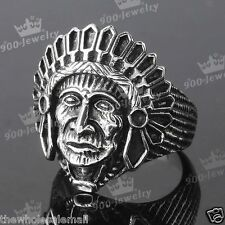 1x Mens 316L Stainless Steel Carved Native Indian Chief Finger Ring us9-12 Biker