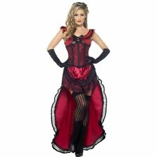 Womens Western Brothel Babe Costume Sexy Fancy Dress Cowboy Corset Red Dancer
