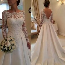 Sexy White/Ivory Long Sleeve Lace Wedding Dress Bridal Gown Stock Size 6-16