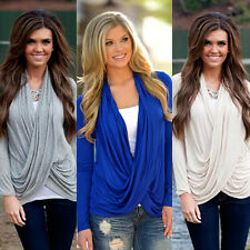 Women's Sexy Fashion Loose Cotton V-Neck Tops Long Sleeve Shirt Casual Blouse