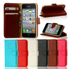GENUINE LEATHER VINTAGE FLIP WALLET CASE COVER FOR THE NEW iPHONE 5S &