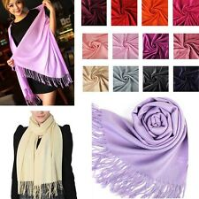 Ladies Women Pashmina Cashmere Silk Solid Shawl Wrap Unisex Long Range Scarf