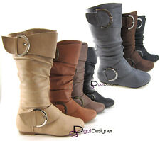 Womens Fashion Boots Shoe Slouch Flat Mid Calf Knee High Riding Round Toe Combat