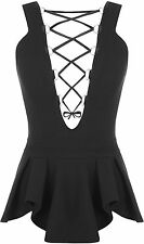 New Womens Ribbon Lace Up Tie Sleeveless Crepe Frill Ladies Peplum Frill Top