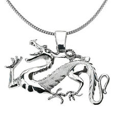 Sterling Silver Chinese Dragon Pendant Necklace Symbol Self-Confidence Courage
