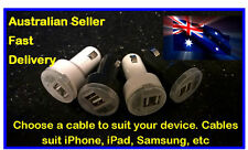 2.1A/1A Dual USB Car Charger + choice of cable for iPad,iPhone,Samsung,Nokia,etc