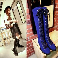 Womens new fashion cross strappy round toe leather casual knee high boots size