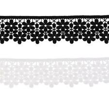 3 Yards Embroidered Fabric Venice 2 Layer Flower Lace Trim Sewing Applique Craft