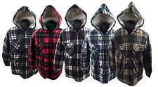 MENS SHERPA THICK HOODED LUMBER JACK WARM CHECK LINED PADDED WINTER SHIRT