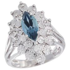 Sterling Silver Natural Marquise Cut 10x5 London Blue Topaz Ring, Diamond Accent
