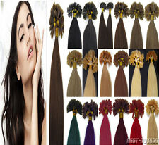 Pre Bonded Nail U Tip Gule Kertain Remy Human Hair Extensions Double Drawn 100S