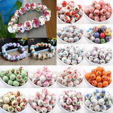 New 10/20Pcs Flower Pattern Round Ceramic Porcelain Loose Spacer Beads DIY 12mm