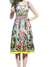 Lady Sweetheart Neckline Floral Position Print Smocked Waist Empire Dress