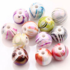 Hot Stylish  20/100Pcs Multi-Color  Round Acrylic Leopard Spacer Loose Bead DIY