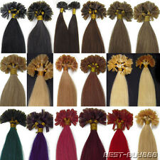 100% Real Remy Human Hair Extensions Pre Bonded Nail U Keratin Tip Gule 18Inch
