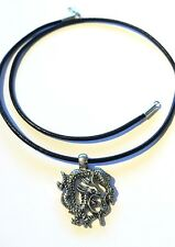 Pewter Dragon Pendant Sterling Silver Clasp Leather Cord Necklace 16 17 18 20 ""