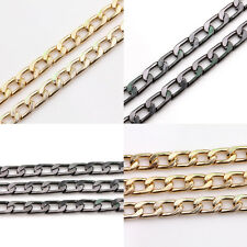 Unique 1m Golden Plated/Gun Black Link Cable Open Aluminum Flat Chain DIY Gift
