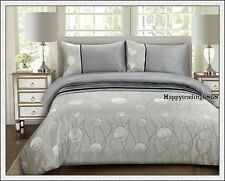 Pintuck Jacquard Weave Silver Grey Black * KING QUEEN QUILT DOONA COVER SET NEW