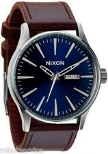 BRAND NEW NIXON THE SENTRY LEATHER WATCH BLUE / BROWN WATCH A105 1524