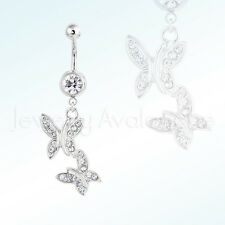 Silver Butterfly Belly Ring, 14G Banana Barbel 316L Surgical Steel Navel Ring