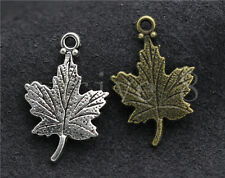 10/40/200pcs Antique Silver Exquisite maple leaf Jewelry Charms Pendant 23x15mm