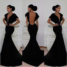 Women V-Neck Backless Long Mermaild Dress Prom Gown Bodycon Ball Party Formal