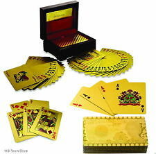 24K GOLD PLATED PLAYING CARDS FULL POKER DECK 99.9% PURE WITH BOX