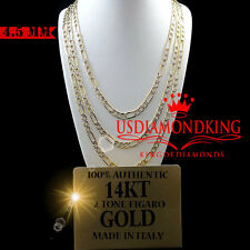14K REAL TWO TONE GOLD DIAMOND CUT FIGARO LINK CHAIN NECKLACE 4.5 MM 22''~24''