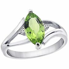 14k White Gold Natural 10x5mm Marquise Peridot Ring, Diamond Accent, Sizes 4-10