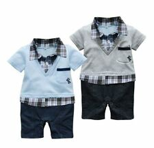 Baby Boy Party Everyday Casual Check Suit Bodysuit Outfit Clothes NEWBORN 0-12M